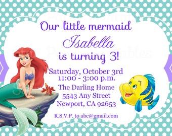 The Little Mermaid Invitation, Ariel, Disney Princess, Kid's Birthday Party Invite, Birthday Invitation