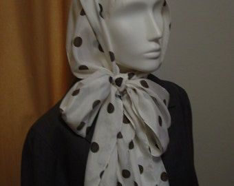 Silk Polka Dot Scarf Long