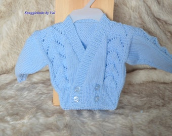 Hand knitted - Crossover style cardigan/sweater for baby girl, baby boy or reborn (made to order)