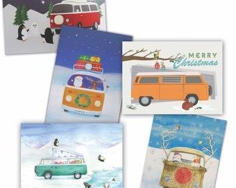 VW bay window T2 camper van Christmas cards (pack of 10)