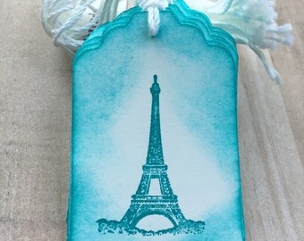Vintage Inspired Eiffel Tower Tags / Set of 10 / Distressed Tags / Merchandise Tags / Favor Tags / Name Tags / Crafting Tags / Wedding Tags