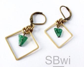Avertine earrings in bronze with copper detail