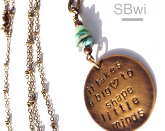 Teacher gift necklace in bronze with copper accent