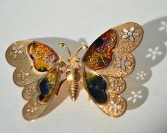 Vintage Gold Tone Filigree Enamel Butterfly Brooch Pin
