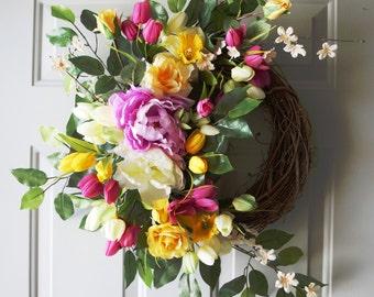 Spring Wreath, Peonies Daffodils Tulips Wreath, Fuchsia Yellow White Wreath, Ready to Ship