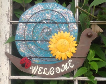 Wooden Snail Front Door Decor - Glittered Blue Hanging Patio Porch Wall