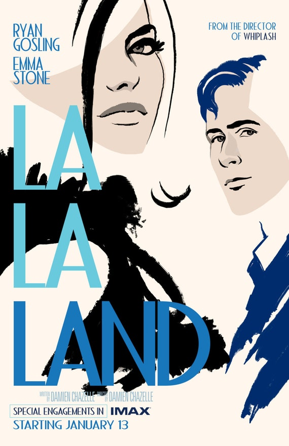 "La La Land 2016 Musical Movie Emma Stone Ryan Gosling Poster, La La Land Print, Emma Stone Poster, Movie Art, Size 13x20"" 24x36"" 32x48"" #10"