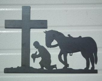 Praying Cowboy Metal Wall Art