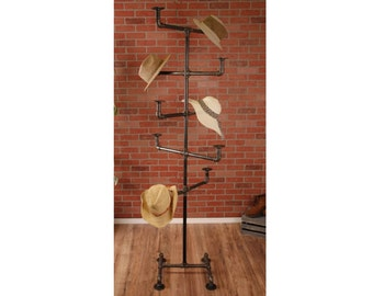 Vintage Style Hat Rack   Hat Storage   Industrial Pipe Hat Rack   Hat  Display