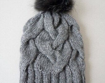 Cable Knit Alpaca, Yak and Merino Hat / Women Chunky Knit Hat/ Soft Wool Cable Beanie  / Slouchy Cable Beanie