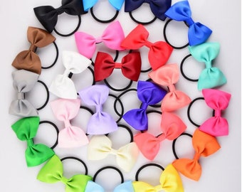 Fashion Colorful Elastic Girls Headdress Candy Color Ribbon Bowknot Trailing Hair Ring  -YTC08
