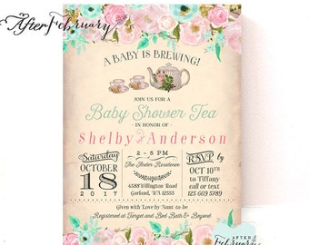 Blush Pink Baby Shower Tea Party Invitation A Baby is Brewing Vintage Peach Background  // Printable OR Printed No.1421BABY