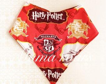 Potter bandana baby bibs, Potter baby bibs, red and gold bibs, reversible bibs, Potter toddler bibs, gryffindor bib, Potter baby gifts, bibs