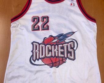Vintage 90s Clyde Drexler Houston Rockets Champion Jersey 44 - m l 48 olajuwon barkley horry thorpe cassell pippen francis harden blazers