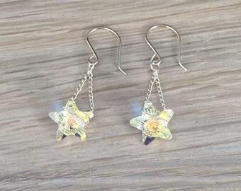 Sterling silver chain & Swarovski star ear-rings
