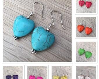 Howlite faux gemstone heart earrings - sterling silver wires