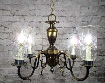 Antique Vintage Chandelier Brass Hurricane Glass Etched Shades Restored Light