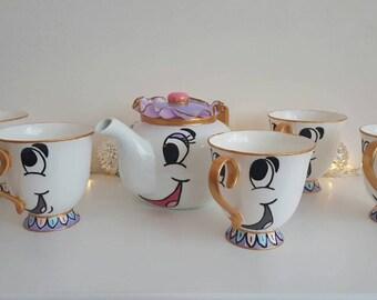 Beauty and the beast inspired, tableware, wedding decor, chip teacup, full set, tea set, chip cup, chip mug, mrs potts, disney wedding
