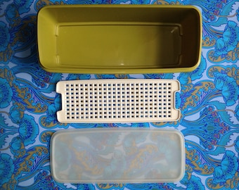 Vintage 1960s 1970s Tupperware SALAD CRISPER container 3pc Picnic Camping knife storage meat vegetable fridge campervan retro Olive Green