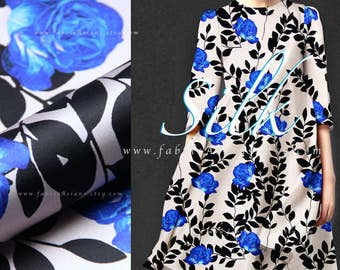 Blue Rose ivory silk charmeuse silk Fabric