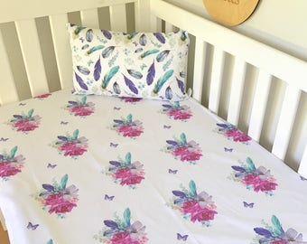 Baby Cot / Crib Fitted Sheet Purple Floral