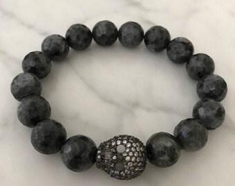 Black labradorite elastic stretch bracelet with beautiful accent cubic zirconia bead