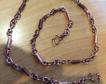 Wire art chain necklace dark and light copper wire