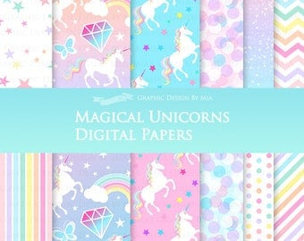 Magical Unicorns / White Unicorns / Einhorn / Unicorn Digital Paper Pack - Instant Download -  DP160