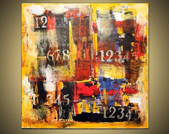 "Red,black,yellow,abstract painting,36""x36""on gallery wrapped stretched canvas ready to hang"