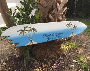 Surfboard Guest Book Alternative, Wedding Signature Book, Wood Guest book Sign, Tropical Wedding Decor,