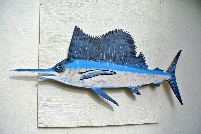 Wooden Fish Wall Decor large sailfish blue marlin wooden decor. blue marlin wood fish