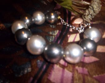 Silver and Dark Metallic Grey Beaded Bracelet with Silver Chain for Women