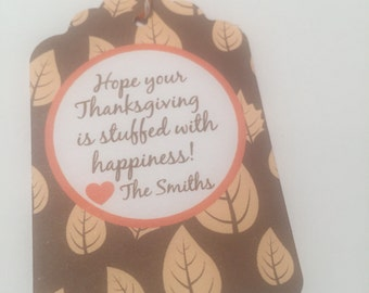 Set of 6 Personalized Thanksgiving Teacher Thankful Gift Tags Favor Tags-Ships in 3-5 days!