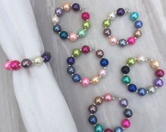 Large faux pearl beaded napkin rings, serviette rings, partyware, tableware, party accessories