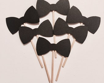 Black Bow Tie Cupcake Toppers