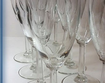 Set of 9 Mid Size Glass Champagne or Mimosa Flutes