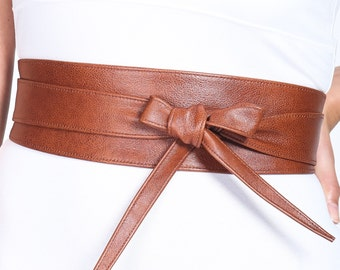 Dark Tan Leather Obi Belt | Waist or Hip Belt | Real Leather Belt| Handmade Belt | Wrap Belt