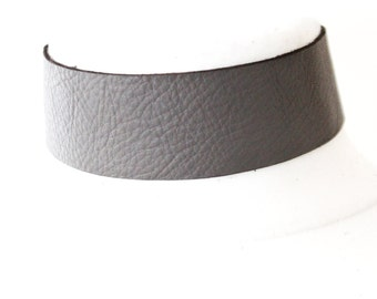 Dark Grey Leather Choker   Grey Choker Neckl    Leather Jewellery   Grey Leather Choker   bdsm wear