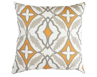 Orange Pillow Cover.Taupe Throw Pillows.Quartrefoil Morrocan Pillow.Gray Throw Pillow.Lumbar.Gray Euro Sham.Orange Grey Cushion