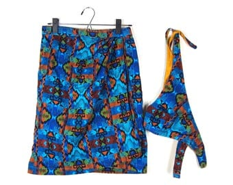 Patterned Wrap Skirt and Halter Set