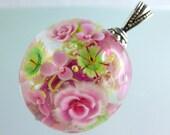1 FOCAL FlowerBead PENDANT-  artisan lampwork bead. Handmade by German glass artist Sabine Frank