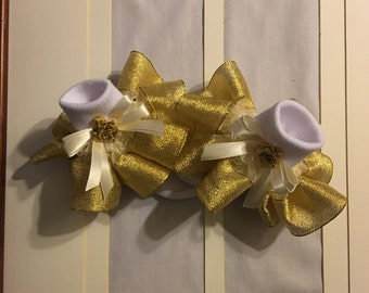 Girls gold metallic ribbon ruffle trim