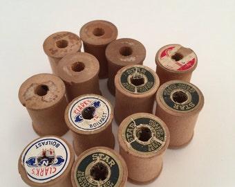 Wooden Spools 12 Small Vintage Thread Spools