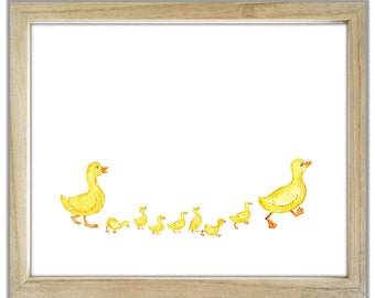 Ducks and Ducklings Ducks and Chicks. Duck family. Ducks and seven ducklings. Customised Duck Family with Chicks. Nursery Ducks and Chicks