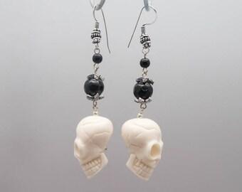White Resin Skull Earrings