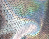 5sqft Fish Scale Embossed Silver Hologram Metallic Iridescent Effect Leather Cowhide - Holographic Leather Skin