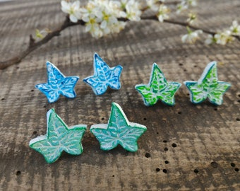 Ivy leaf clay stud earrings vibrant bright light green blue, natural chalk ceramic jewelry, small gift for girls that love nature, rustic