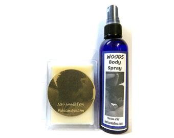 COMBO - Woods ( Version of AF) - 3.2 oz Wax Tart & 4oz Bottle of Scent Spray