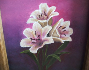 Original oil painting of flowers on canvas