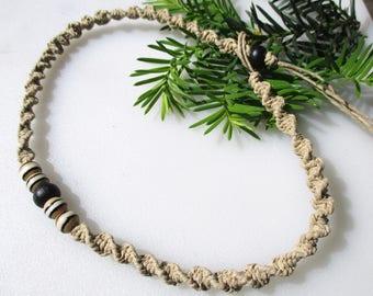 Natural Hemp Necklace, Painted Bone, Hemp Necklace, Unisex Hemp Necklace, Hemp Anklet, Hemp Bracelet, Beaded Hemp, Hemp